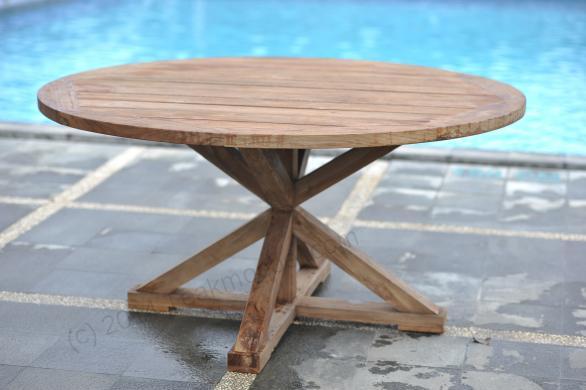 Okrągły stół ogrodowy z teczyny 120cm