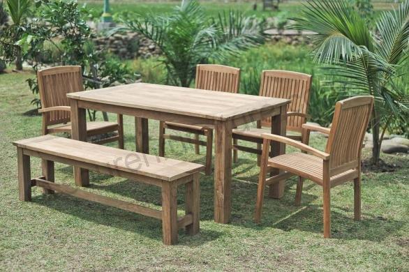 Stół ogrodowy 160x90cm z 4 krzesłami i ławką
