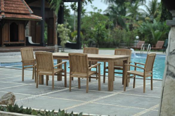 Tekowy stół ogrodowy 220x100 cm z 6 składanymi krzesłami