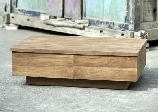 Tekowy stół wypoczynkowy BLOK gładki 110cm