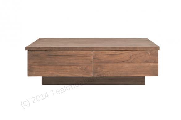 Tekowy stolik kawowy gładki BLOK 120 cm