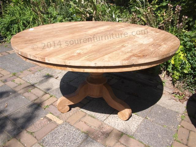 Okrągły stół tekowy gładki