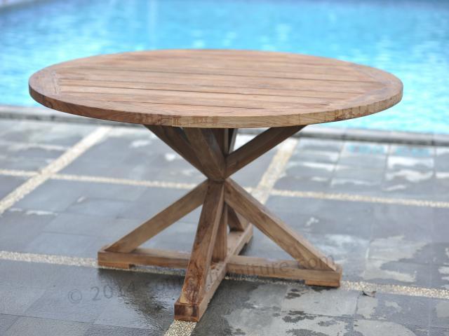 Stół tekowy ogrodowy okrągły